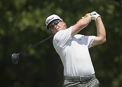 May 25, 2018 - Fort Worth, TX, USA - FORT WORTH, TX - MAY 25, 2018 - Charley Hoffman tees off on the 9th hole during the second round of the 2018 Fort Worth Invitational PGA at Colonial Country Club in Fort Worth, Texas (Credit Image: © Erich Schlegel via ZUMA Wire)