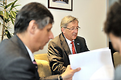 Jean-Claude Juncker, Luxembourg's prime minister, right, attends a bilateral meeting with Jan Fischer, prime minister of the Czech Republic, at the permanent representation of the Czech Republic, in Brussels, Belgium, Thursday, June 18, 2009. (Photo © Jock Fistick)