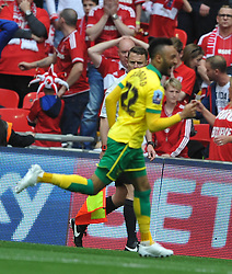 Nathan Redmond Celebrates after sv=coring Norwich Second Goal, Middlesbrough v Norwich, Sky Bet Championship, Play Off Final, Wembley Stadium, Monday  25th May 2015