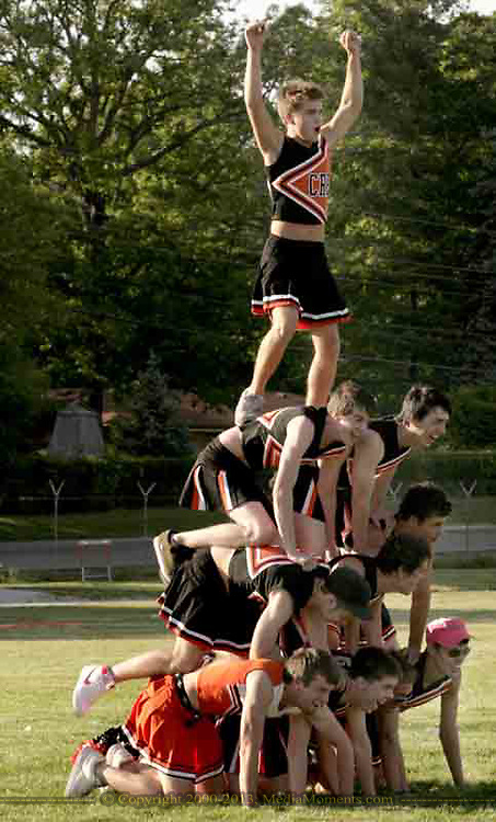 With the roles reversed, the guys are the cheerleaders, and they did a pyramid during halftime at the 3rd Annual Powderpuff Challenge, the junior girls (class of 2008) against the senior girls (class of 2007.)