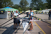 Plovdiv BULGARIA. 2017 FISA. Rowing World U23 Championships. <br /> Italian Coach, setting up, the ITA BM4-.<br /> Wednesday. AM, general Views, Course, Boat Area<br /> 08:47:46  Wednesday  19.07.17   <br /> <br /> [Mandatory Credit. Peter SPURRIER/Intersport Images].