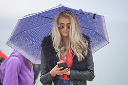 May 28, 2017 - Brighton, East Sussex, United Kingdom - Brighton, UK. Members of the public brave the grey clouds to spend some time on the beach in Brighton and Hove on the Bank holiday weekend as the occasional rain shower hits the seaside resort. (Credit Image: © Hugo Michiels/London News Pictures via ZUMA Wire)