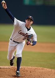 Virginia Cavaliers pitcher Jacob Thompson (25) pitches against Lehigh.  The #17 ranked Virginia Cavaliers baseball team defeated the Lehigh Mountain Hawks 5-1 in the 2008 season opener at the University of Virginia's  Davenport Field in Charlottesville, VA on February 23, 2008.