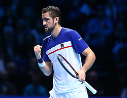 November 16, 2017 - London, United Kingdom - Marin Cilic of Croatia against Roger Federer of Switzerland.during Day five of the Nitto ATP World Tour  Finals played at The O2 Arena, London on November 16 2017  (Credit Image: © Kieran Galvin/NurPhoto via ZUMA Press)