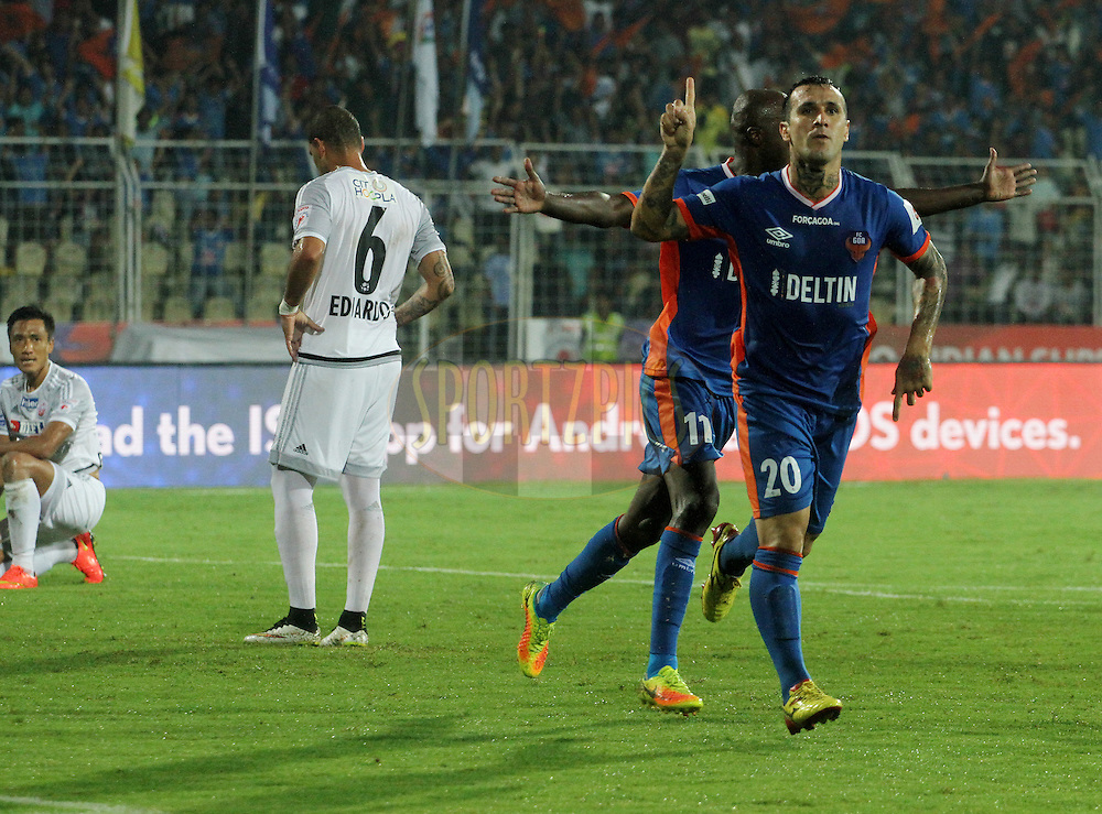 Rafael Coelho of FC Goa celebrates a goal during match 8 of the Indian Super League (ISL) season 3 between FC Goa and FC Pune City held at the Fatorda Stadium in Goa, India on the 8th October 2016.<br /> <br /> Photo by Vipin Pawar / ISL/ SPORTZPICS