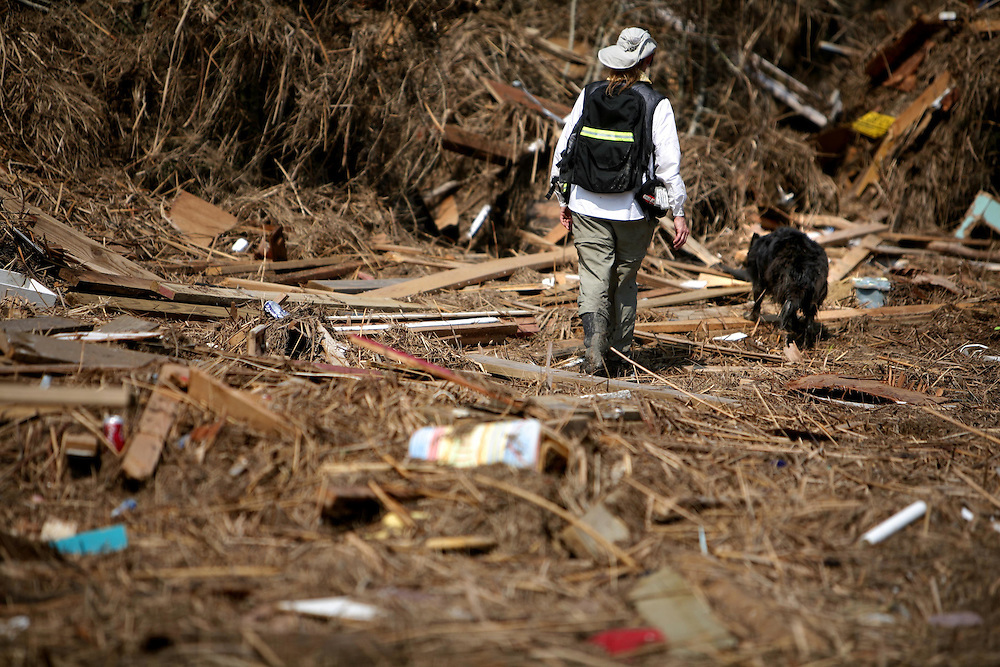 Susan Martinez of Greater Houston Search Dogs and her dog Breley search for cadavers in a debris field in Chambers County Sunday September 21, 2008.  The field is 5.2 miles from East Bay and 11.5 miles from the Crystal Beach/Gilchrist area, which is where the debris originated.