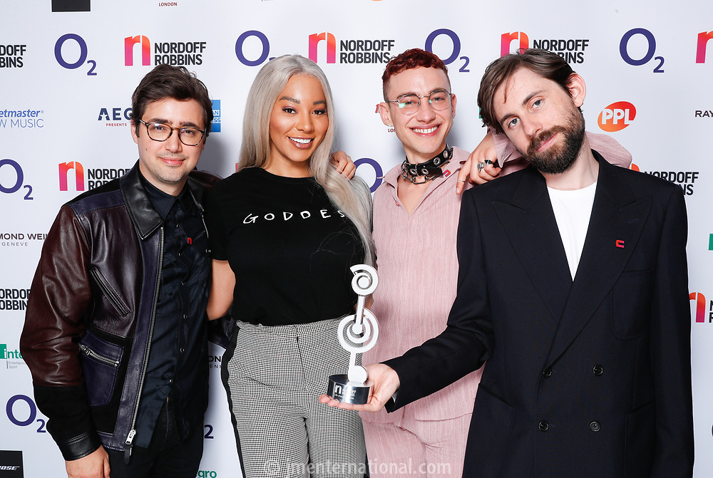 Years and Years pose backstage with Munroe Bergdorf during the  O2 Silver Clef Awards 2019, Grosvenor House, London, UK, Friday 05 July 2019<br /> Photo JM Enternational