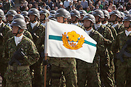 October, 23, 2016, Asaka, Saitama Prefecture: This is the Airborne Unit of the Japan Self Defense Force (JSDF) during an annual military review held at the Asaka Training Area, a JSDF base on the outskirts of Tokyo. This airborne unit is an elite fighting force, the equivalent of Army rangers. For this event, Prime Minister Shinzo Abe, top ranking Japanese military brass and international dignitaries were in attendance to view Japan's military might. This included 4000 troops, 27 divisions, 280 vehicles and artillery, plus 50 aircraft of the Ground, Air, and Maritime branches of the JSDF. (Torin Boyd/Polaris).