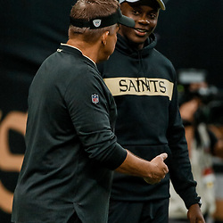 Aug 30, 2018; New Orleans, LA, USA; New Orleans Saints head coach Sean Payton talks with quarterback Teddy Bridgewater before a preseason game against the Los Angeles Rams at the Mercedes-Benz Superdome. Mandatory Credit: Derick E. Hingle-USA TODAY Sports