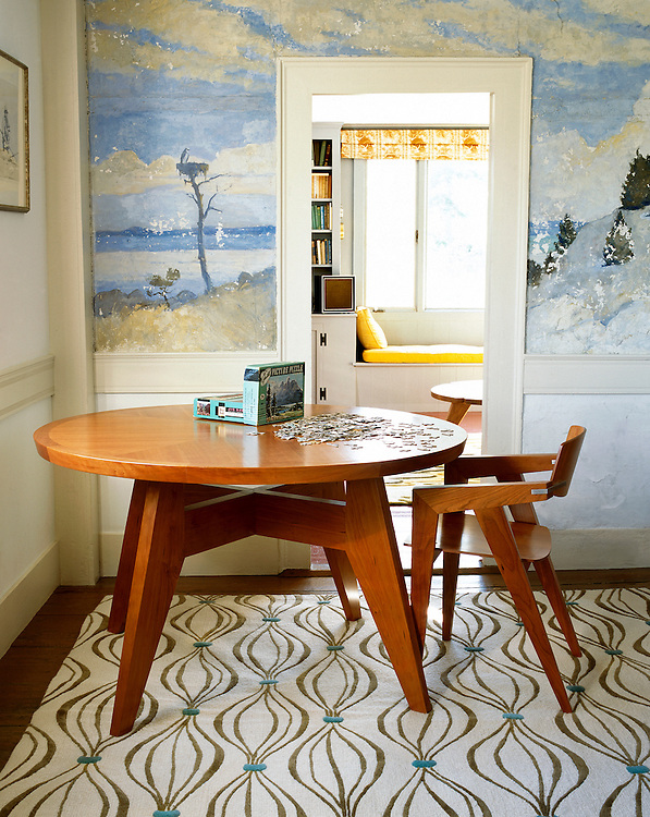 Angela Adams dining table and rug  in Dining Room, North Haven Island, Maine