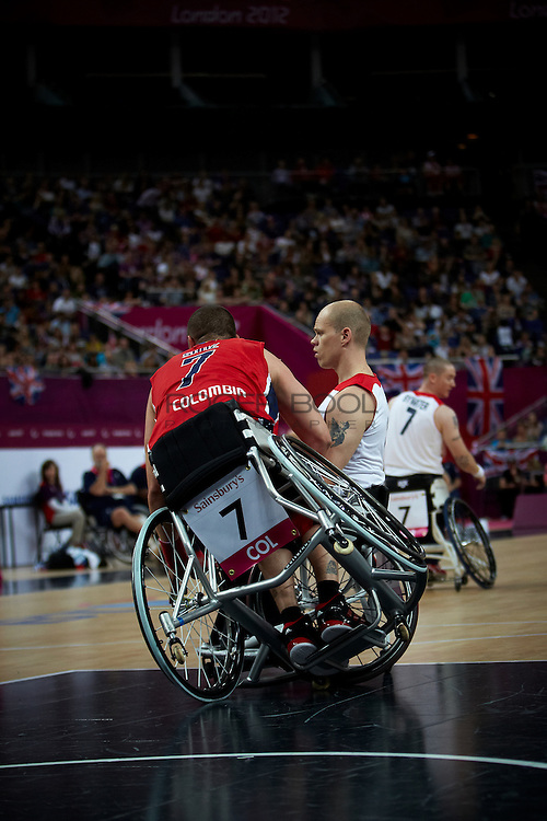 Jon Hall of Great Britain in the Men's Wheelchair Basketball against Colombia at the North Greenwich Arena on dat 3 of the London 2012 Paralympic Games. 1st September 2012.