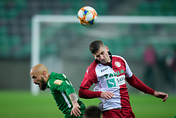 Goran Brkic, Ivan Kontek during football match between NK Olimpija Ljubljana and NK Aluminij in semi final of Slovenian Cup 2018/19, on April 23, 2019 in Stozice Stadium, Ljubljana, Slovenia. Photo by Morgan Kristan
