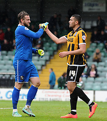 Port Vale's Chris Neal celebrates victory with Port Vale's Colin Daniel- Photo mandatory by-line: Harry Trump/JMP - Mobile: 07966 386802 - 25/04/15 - SPORT - FOOTBALL - Sky Bet League One - Yeovil Town v Port Vale - Huish Park, Yeovil, England.