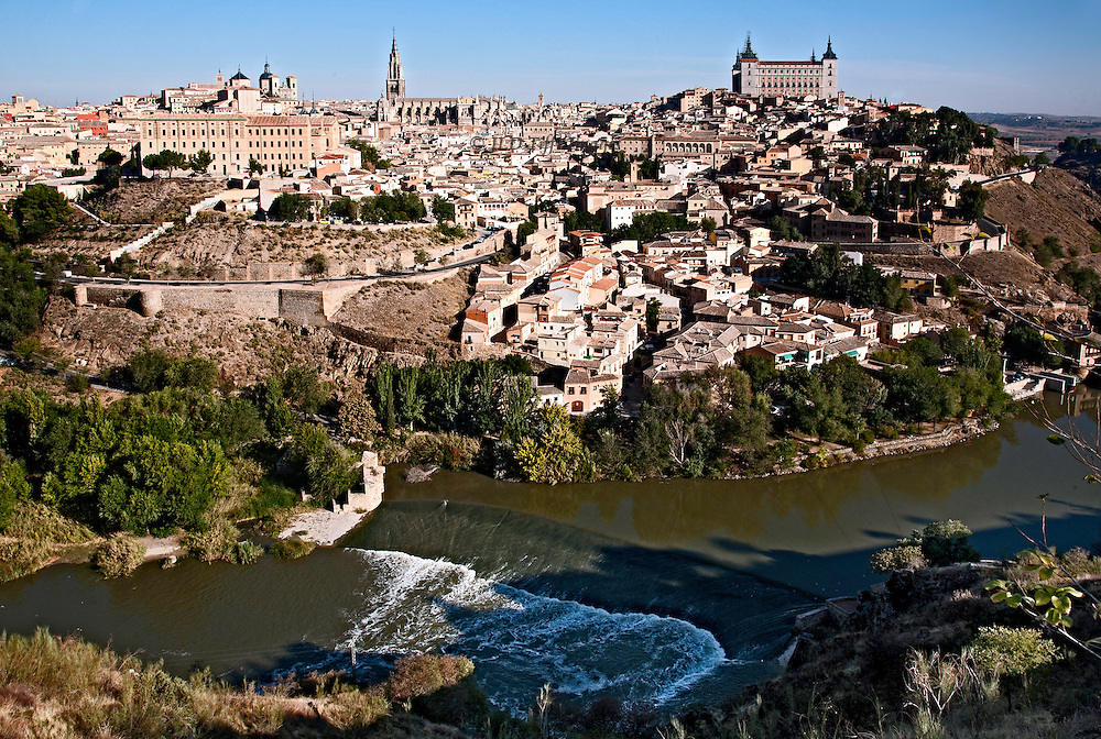 View of Toledo, Spain, from across the river where a viewing platform has been established.  This is more or less the vantage point from which El Greco painted his famous view of the city.