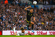 Leeds United midfielder Kalvin Phillips (23) tackles Brentford midfielder Christian Norgaard (6) during the EFL Sky Bet Championship match between Leeds United and Brentford at Elland Road, Leeds, England on 21 August 2019.
