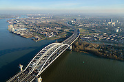 Nederland, Zuid-Holland, Rotterdam, 18-02-2015; Van Brienenoordbrug over de Nieuwe Maas, rijksweg A16 richting Ridderkerk.<br /> Van Brienenoord bridge crossing the New Meuse near Rotterdam.<br /> luchtfoto (toeslag op standard tarieven);<br /> aerial photo (additional fee required);<br /> copyright foto/photo Siebe Swart