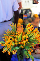 Provence, France..zucchini flowers for sale (for cooking) at a market in Coustellet in the Luberon...Photo by Owen Franken