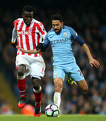 Gael Clichy of Manchester City and Mame Biram Diouf of Stoke City - Mandatory by-line: Matt McNulty/JMP - 08/03/2017 - FOOTBALL - Etihad Stadium - Manchester, England - Manchester City v Stoke City - Premier League