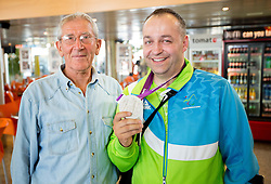 Lojze Mikolic and Francek Gorazd Tirsek of Team Slovenia at arrival to Airport Joze Pucnik after the London 2012 Paralympic Games on September 10, 2012, in Brnik, Slovenia. (Photo by Vid Ponikvar / Sportida.com)