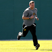 BRADENTON, FL -- January 13, 2010 -- Pittsburg Pirates pitcher Evan Meek runs drills during workouts at the Pirate City Spring Training Headquarters in Bradenton, Fla., on Wednesday, January 13, 2010.  (Chip Litherland for the Chip Litherland for the Pittsburgh Tribune-Review)