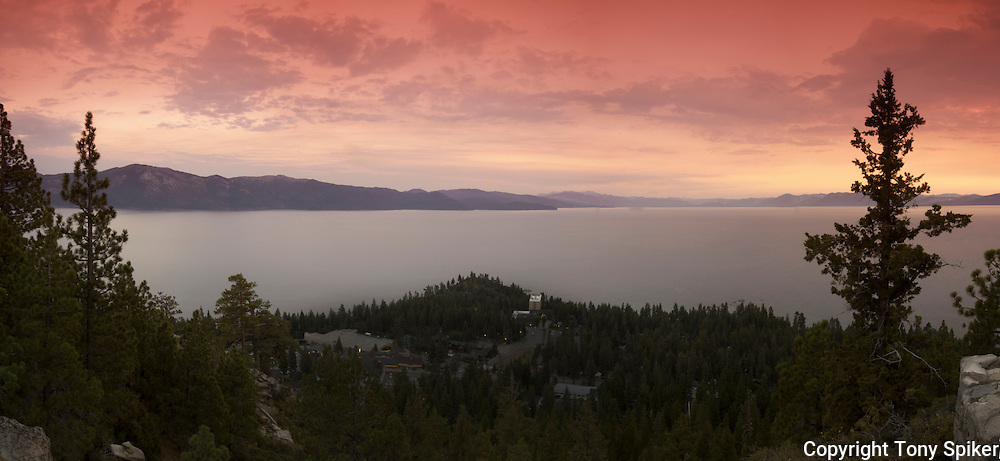 """Lake Tahoe Sunset 2"" - A photograph of sunset overlooking Lake Tahoe, taken from Crystal Bay, Nevada"