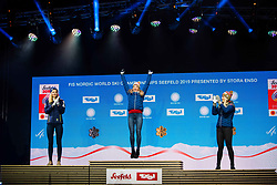 February 22, 2019 - Seefeld In Tirol, AUSTRIA - 190222 Silver medalist Stina Nilsson of Sweden, gold medalist Maiken Caspersen Falla of Norway and bronze medalist Mari Eide of Norway celebrate at the podium in the medal ceremony for women´s cross-country skiing sprint during the FIS Nordic World Ski Championships on February 22, 2019 in Seefeld in Tirol..Photo: Vegard Wivestad Grøtt / BILDBYRÃ…N / kod VG / 170289 (Credit Image: © Vegard Wivestad GrØTt/Bildbyran via ZUMA Press)