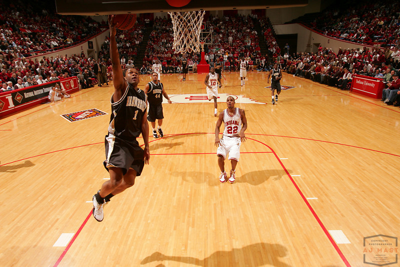 Vanderbilt's Mario Moore (1) as Indiana lost 67-60 to Vanderbilt in the opening round of the 2005 NIT at Assembly Hall in Bloomington, Ind., Wednesday, March 15, 2005.  (Mandatory Credit: AJ Mast/Ronin Images)......***LOW RES FPO ONLY, HIGH RES AVALIBLE OFFLINE***