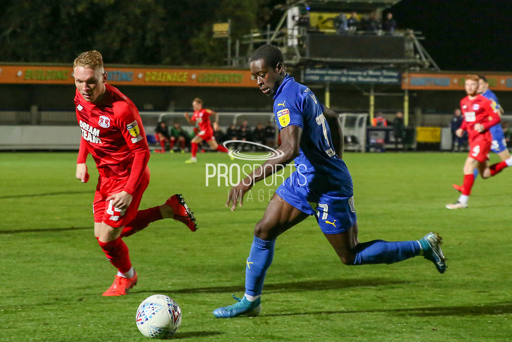 AFC Wimbledon defender Paul Osew (37) dribbling during the Leasing.com EFL Trophy match between AFC Wimbledon and Leyton Orient at the Cherry Red Records Stadium, Kingston, England on 8 October 2019.