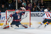 KELOWNA, CANADA - JANUARY 7: Dylan Ferguson #31 of the Kamloops Blazers makes a shoot out save against Dillon Dube #19 of the Kelowna Rockets on January 7, 2017 at Prospera Place in Kelowna, British Columbia, Canada.  (Photo by Marissa Baecker/Shoot the Breeze)  *** Local Caption ***