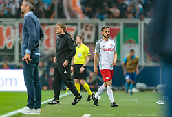 03.05.2018, Red Bull Arena, Salzburg, AUT, UEFA EL, FC Salzburg vs Olympique Marseille, Halbfinale, Rueckspiel, im Bild Trainer Marco Rose (FC Salzburg), Andreas Ulmer (FC Salzburg) // during the UEFA Europa League Semifinal, 2nd Leg Match between FC Salzburg and Olympique Marseille at the Red Bull Arena in Salzburg, Austria on 2018/05/03. EXPA Pictures © 2018, PhotoCredit: EXPA/ JFK