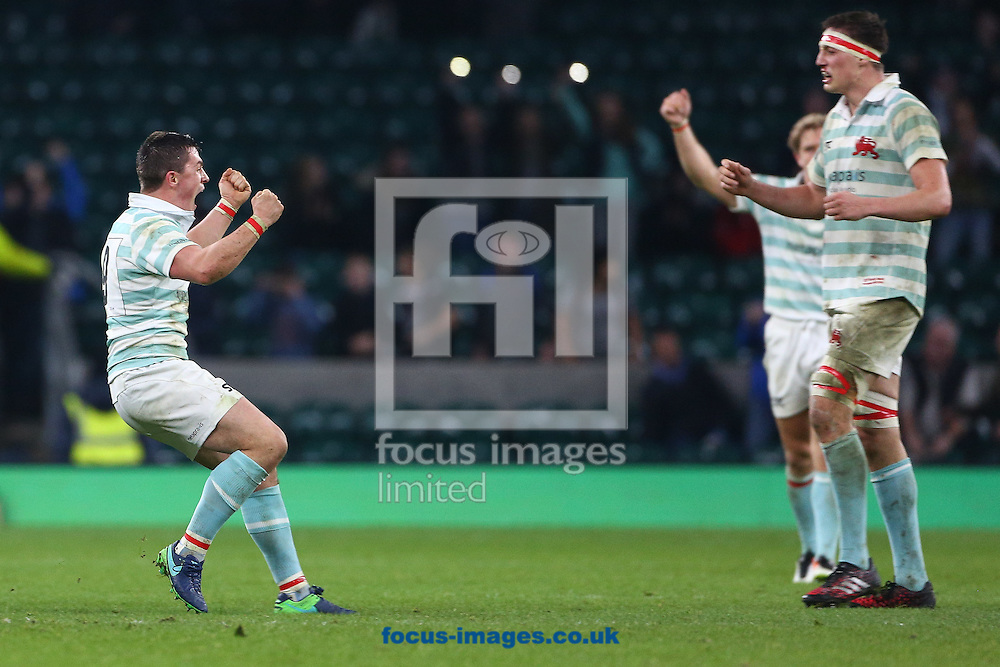 Seb Tullie of Cambridge University celebrates their first win against Oxford in seven Varsity Matches at Twickenham Stadium, Twickenham<br /> Picture by Mark Chappell/Focus Images Ltd +44 77927 63340<br /> 08/12/2016