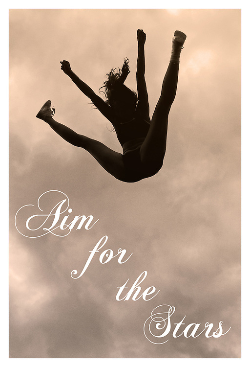 Motivational cheerleading poster of a hyper extended toe touch basket toss.<br /> Measures 33 x 23.5 inches/A1     &pound;9.99