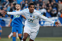 FOOTBALL - FRENCH CUP 2011/2012 - 1/8 FINAL - BOURG PERONNAS v OLYMPIQUE MARSEILLE - 15/02/2012 - PHOTO PHILIPPE LAURENSON / DPPI - BRANDAO (OM) JOY AFTER HIS GAOL
