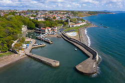 Aerial view of harbour at Dysart conservation village outside Kirkcaldy in Fife, Scotland ,UK