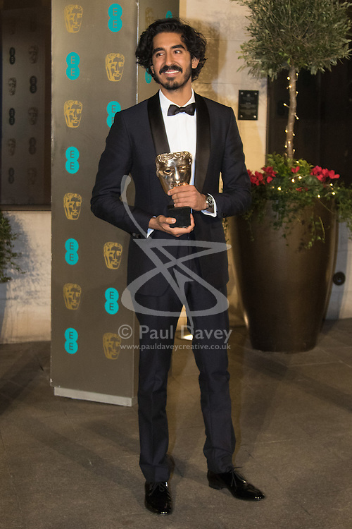 Photo Must Be Credited ©Alpha Press<br /> Dev Patel arrives at the EE British Academy Film Awards after party dinner at the Grosvenor House Hotel in London.
