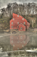 The Famous Red Mill in Clinton NJ rapped in fog.
