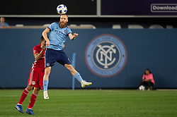 August 22, 2018 - Bronx, New York, United States - New York City forward JO INGE BERGET (9) jumps for a header during a regular season match at Yankee Stadium in Bronx, NY.  New York City FC tie the New York Red Bulls 1 to 1 (Credit Image: © Mark Smith via ZUMA Wire)