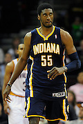 Feb. 2, 2011; Cleveland, OH, USA; Indiana Pacers center Roy Hibbert (55) walks to the bench during the fourth quarter against the Cleveland Cavaliers at Quicken Loans Arena. The Pacers beat the Cavaliers 117-112. Mandatory Credit: Jason Miller-US PRESSWIRE