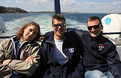 Robert Kristan, Marcel Rodman and Miha Rebolj at whale watching boat, when some guys of Slovenian Team were celebrating an anniversary of playing for the team, during IIHF WC 2008 in Halifax,  on May 07, 2008, sea at Halifax, Nova Scotia, Canada. (Photo by Vid Ponikvar / Sportal Images)