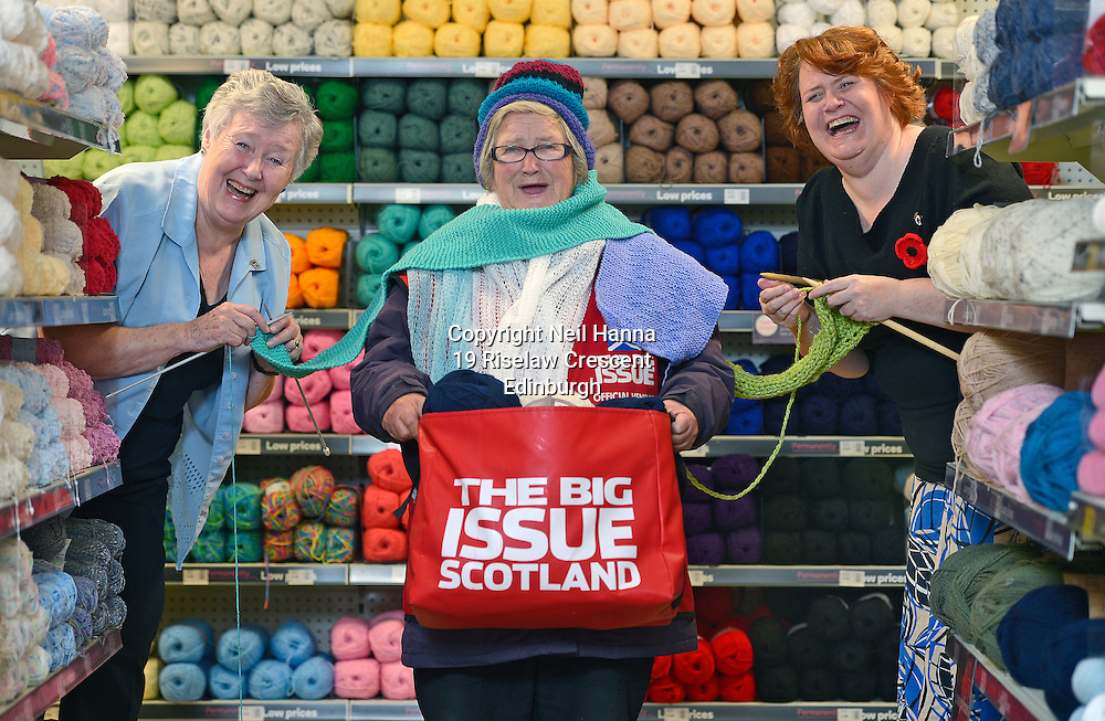 Scottish Women's Institute members are casting on to support the homeless this winter. <br /> A cosier winter is in sight for homeless people across Scotland this winter, thanks to the Scottish Women's Institutes (SWI) picking up their knitting needles and casting on in support of a national campaign to help make a difference to the lives of Big Issue vendors throughout the country.<br /> As Scotland's largest women's organisation, and with many members talented sewers and knitters, the SWI is throwing its weight behind The Big Issue Foundation's Big Knitathon and wants to ensure that this year's effort is the biggest and best to date.<br /> The women will be getting together to knit garments, raise funds and hold events, all of which will benefit homeless people in Scotland. And, in a powerful message to get others involved, they are providing two Big Knitters – knitting experts who will help promote the Big Knitathon by attending events, and answering knitting queries.<br /> <br /> As the leading ladies and resident 'Big Knitters' for the campaign, mother and daughter Anne (73) and Jane Muirhead (47) are determined to  encourage all members – from novice to seasoned professional – to keep their knitting needles by their side for the month of November. <br /> The Big Knitathon is an annual campaign to encourage knitters across the country to create clothing for the vendors, sell the finished articles to raise funds, or hold fundraising events with all proceeds going to The Big Issue Foundation. Over the last three years over 2000 knitters have got their needles out for the Big Knitathon and raised over £22,500 to support The Big Issue Foundation's work.<br /> <br />  Neil Hanna Photography<br /> www.neilhannaphotography.co.uk<br /> 07702 246823