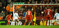 21.02.2013, Anfield, Liverpool, ENG, UEFA Europa League, FC Liverpool vs Zenit St. Petersburg, im Bild Liverpool's Joe Allen scores the second goal against FC Zenit St Petersburg during UEFA Europa League match between Liverpool FC and Zenit St. Petersburg at Anfield, Liverpool, Great Britain on 2013/02/21. EXPA Pictures © 2013, PhotoCredit: EXPA/ Propagandaphoto/ David Rawcliffe..***** ATTENTION - OUT OF ENG, GBR, UK *****