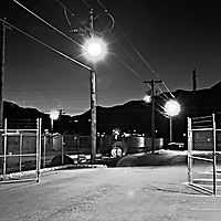 Gated back alley B&W .