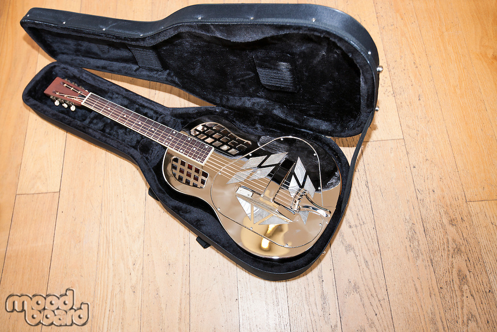 Full view of resonator guitar in carry case