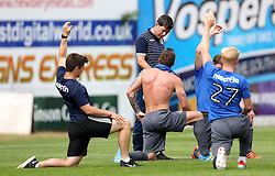 Bristol Rovers Manager Darrell Clarke chats to his players as the cool down after the preseason friendly against Exeter City - Mandatory by-line: Robbie Stephenson/JMP - 16/07/2016 - FOOTBALL - St James Park - Exeter, England - Exeter City v Bristol Rovers - Pre-season friendly