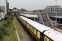 Merchant Navy Class 4-6-2 no 35028 Clan Line Steam Locomotive Pullman, Twickenham Station, London UK, 12 June 2015, Photo by Richard Goldschmidt
