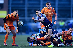Tomos Williams of Cardiff Blues passes the ball out the ruck  - Ryan Hiscott/JMP - 26/12/19 - SPORT - Arms Park - Cardiff, Wales - Thursday, Dec 26 2019 - Guinness PRO14 Cardiff Blues vs Dragons