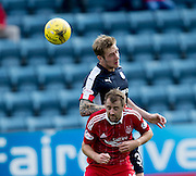 Dundee&rsquo;s Kevin Holt oujumps Aberdeen&rsquo;s Niall McGinn - Dundee v Aberdeen in the Ladbrokes Scottish Premiership at Dens Park, Dundee. Photo: David Young<br /> <br />  - &copy; David Young - www.davidyoungphoto.co.uk - email: davidyoungphoto@gmail.com