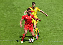 CARDIFF, WALES - Friday, June 5, 2015: Wales' Hal Robson-Kanu and Tom Lawrence during a practice match at the Cardiff City Stadium ahead of the UEFA Euro 2016 Qualifying Round Group B match against Belgium. (Pic by David Rawcliffe/Propaganda)