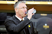 Hull City Manager Nigel Adkins prior to  the EFL Sky Bet Championship match between Hull City and Aston Villa at the KCOM Stadium, Kingston upon Hull, England on 31 March 2018. Picture by Mick Atkins.