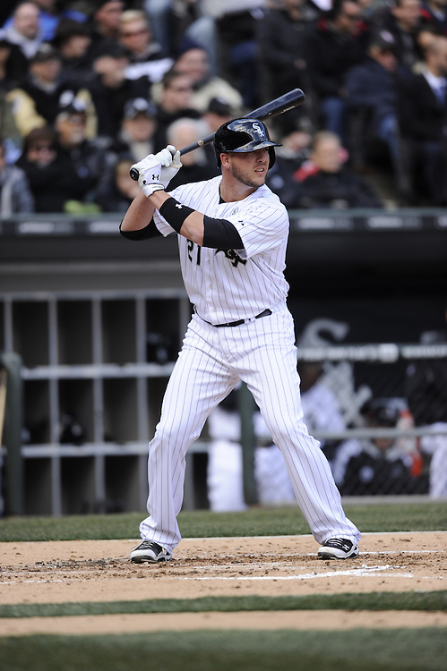 CHICAGO - APRIL 01:  Tyler Flowers #21 of the Chicago White Sox bats against the Kansas City Royals on April 1, 2013 at U.S. Cellular Field in Chicago, Illinois.  The White Sox defeated the Royals 1-0.  (Photo by Ron Vesely)   Subject: Tyler Flowers